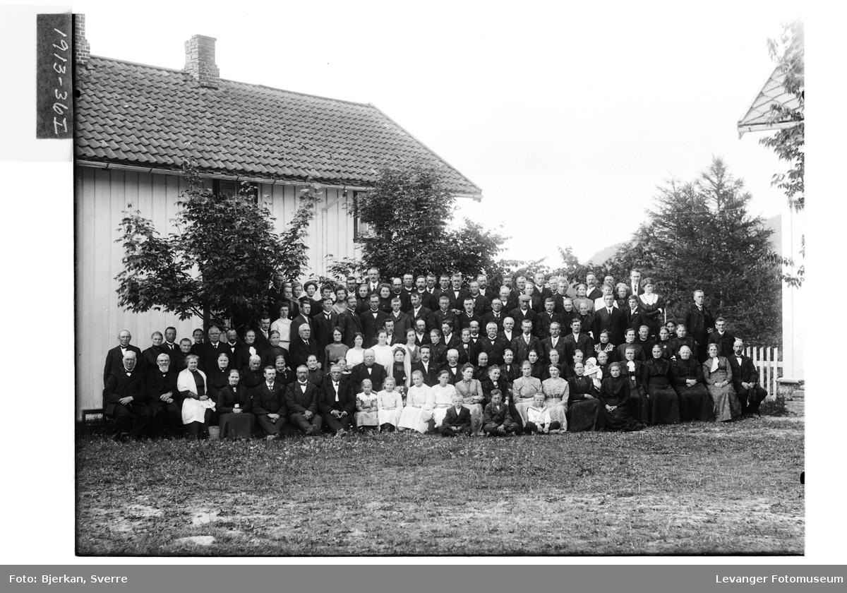 Brudepar omkranset av gjester på Vatn i Åsen