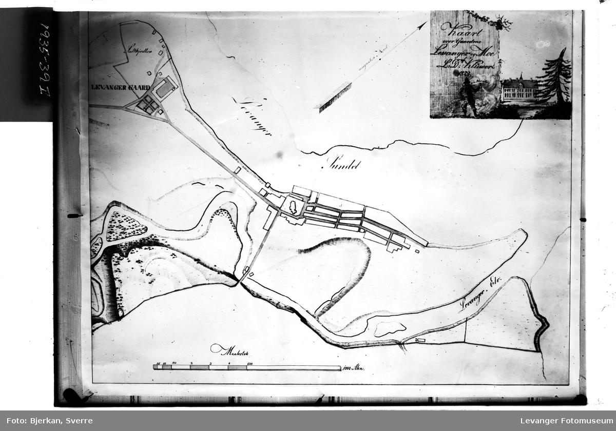 Kart over Levanger fra 1822