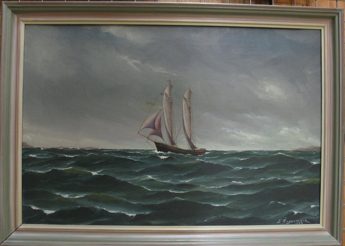 Tavla. ''Galeasen Alexandra'' från stora Askerön Bohuslän.  Båten byggdes år 1865 på Orust. Den ägdes av Jacob Andersson, Ängermarks farfars bror. Den såldes på 1800-talet. Låg vrak i Arkösund sprängdes år 1967.