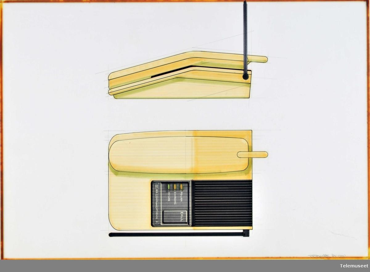 Arkitektskisse forstudier tastafon gul design  John Houghton.