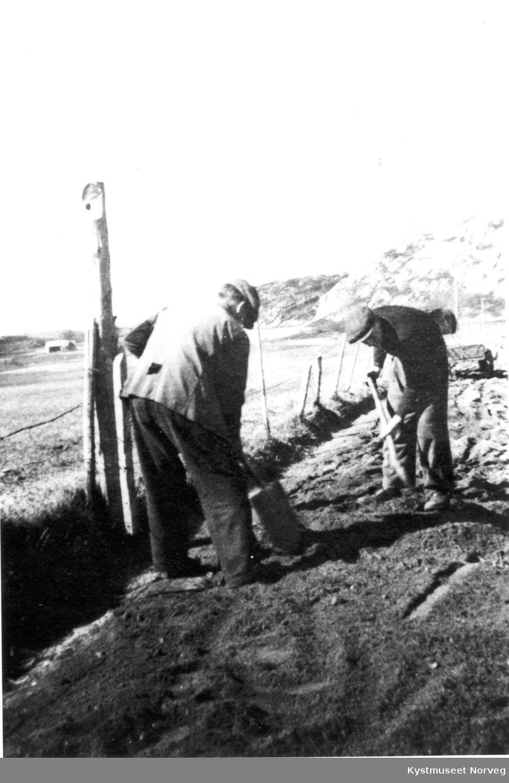 Asgeir Strøm og Wilhelm Estensen på Veiarbeid på Flatanger