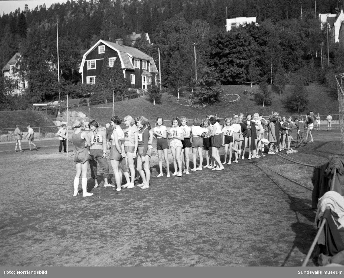 Sundsvalls folkskolors friidrottstävlingar i Idrottsparken.