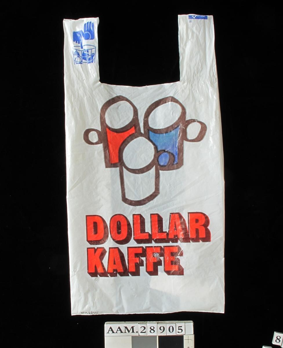 Bærepose for dagligvarer. Type med varemerkenavn, til bruk i småbutikker, så små at de ikke hadde egen pose.