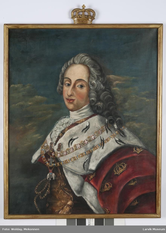 Kong Frederik V i rustning og hermelinskappe