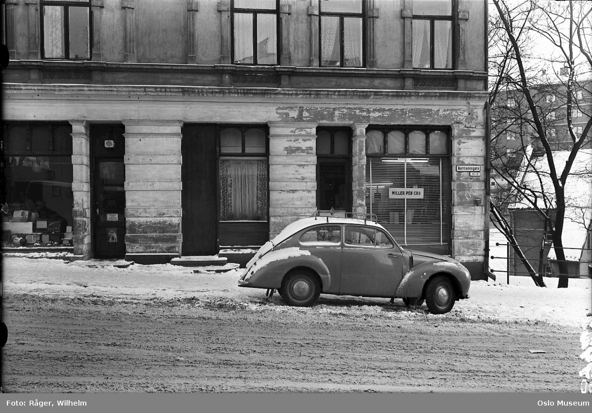 bygård, radioforretning, utstillingsvindu, bil, snø