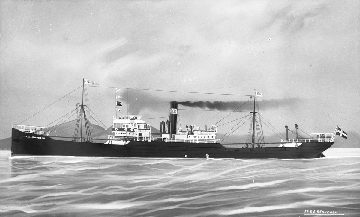 """Avfotografert maleri av dampskipet D/S """"O. A. Knudsen"""". I 1907 var dette Haugesunds største skip."""