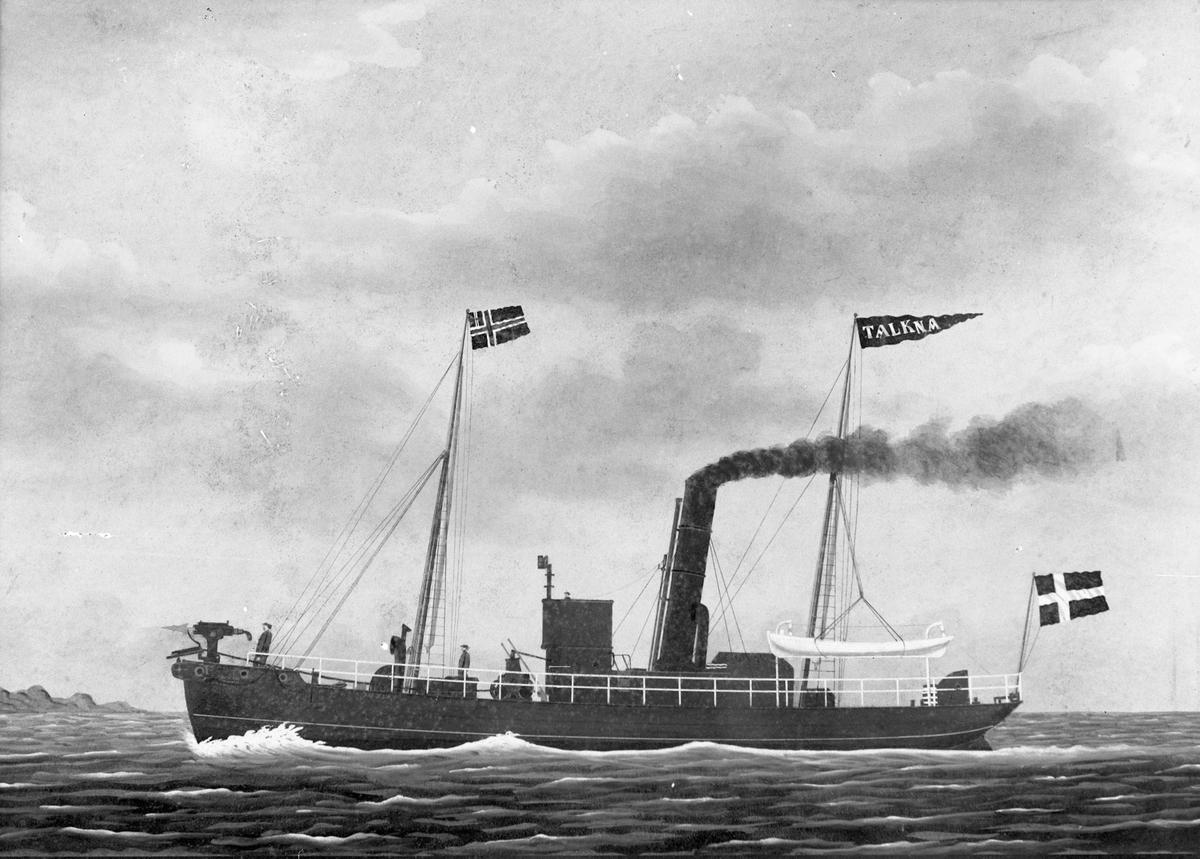 """Avfotografert maleri av dampskipet D/S """"Talkna"""" ute på hvalfangst."""