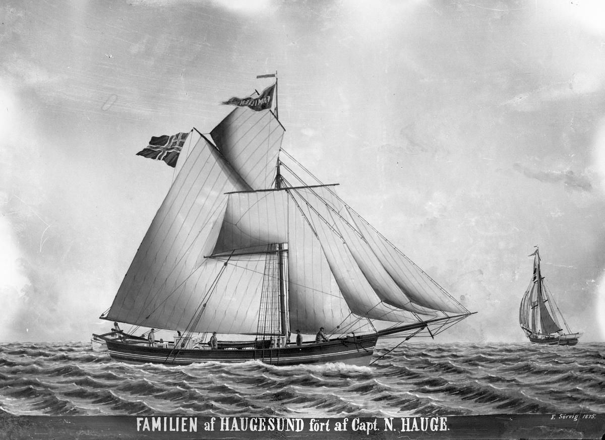 """Avfotografert maleri av jakta """"Familien"""" fra Haugesund for fulle seil. Bak til høyre seiler et annet seilskip."""