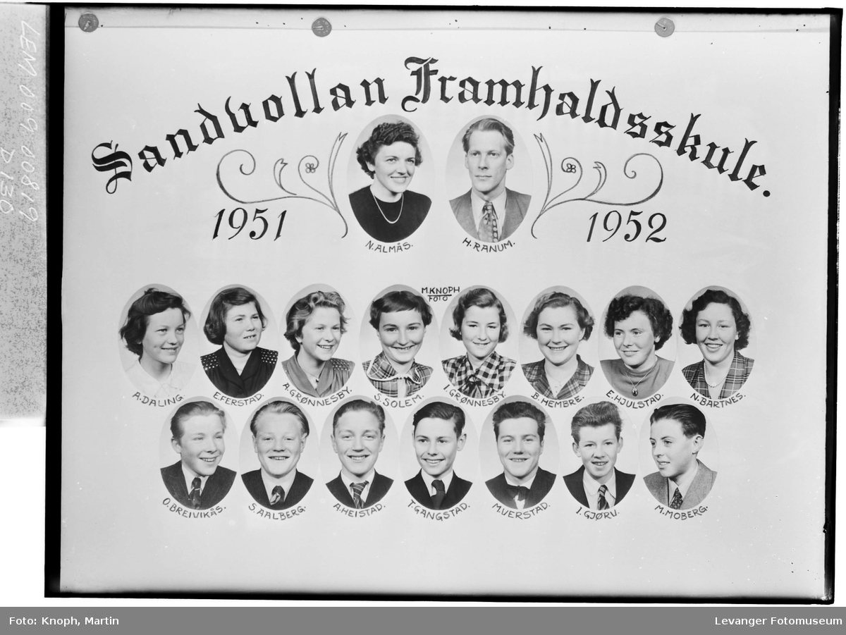 Sandvollan Framhaldsskole, 1951-52.