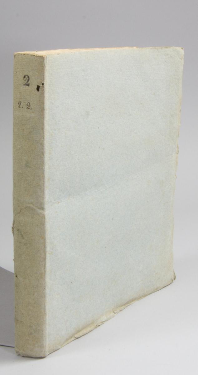 """Bok, pappband: """"Bihang till samtlige riks-ståndens protocoll vid urtima riksdagen i Stockholm År 1840. Andra Bandet."""", utgiven hos A. G. Hellsten i Stockholm 1840.  Inbunden i grått pappband. Ryggen numrerad med 2. 2.2. Med Leonard ?? exlibris."""