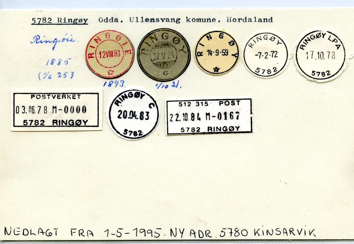 Stempelkatalog 5782 Ringøy (Ringøie), Odda, Ullensvang, Hordaland