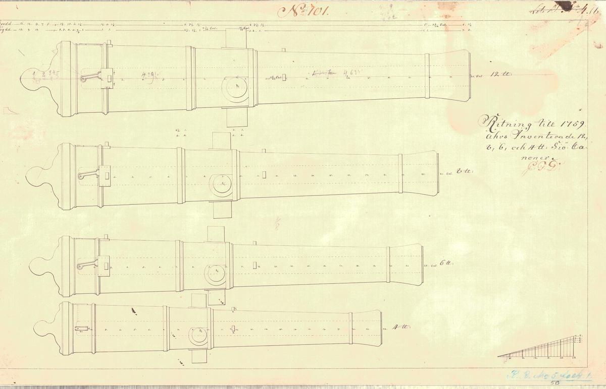 Ritning till 1759 års inventerade 12, 8, 6 och 4 pundiga sjökanoner