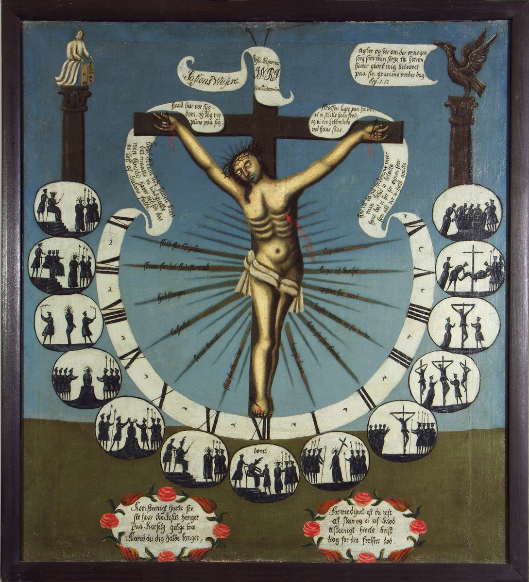 Pasjonsviser. Maleriet viser Kristus på korset omgitt av visere med klokkeslettene 6 om morgenen til kl seks om kvelden i form av romertall og små bilder som illustrerer lidelseshistorien time for time.