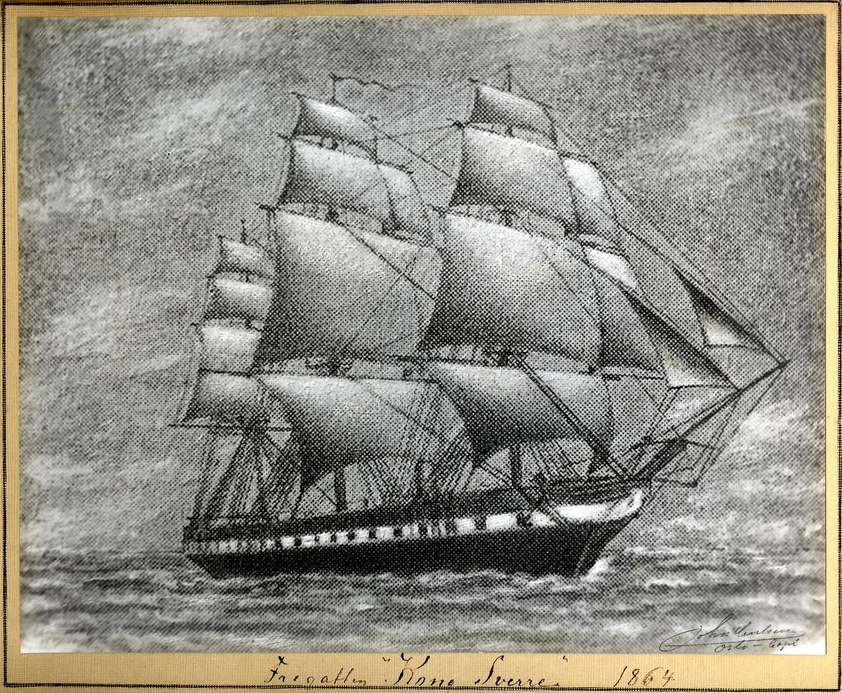 """Motiv: Kulltegning av """"KONG SVERRE"""" 1864"""
