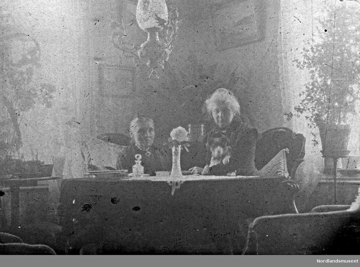 Stue, interiør, bord, stoler, lysekrone. To damer sitter ved bordet. Damen til vesntre er lensmannsfruen på Sund i Gildeskål, Annette Sund.f. Neumann. Bildet er trolig tatt i hjemmet til en av hennes sønner.