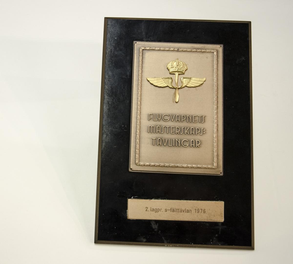 Prisplakett monterad på svart träplatta. Runt plaketten finns en bård av blad. Plaketten har flygvapnets emblem.