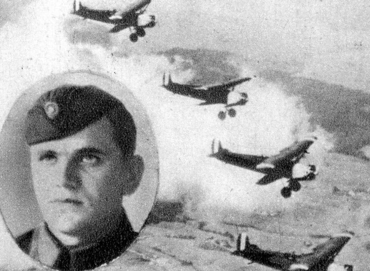 Portrett. En person, mann i uniform (innfelt). Fire fly i luften.