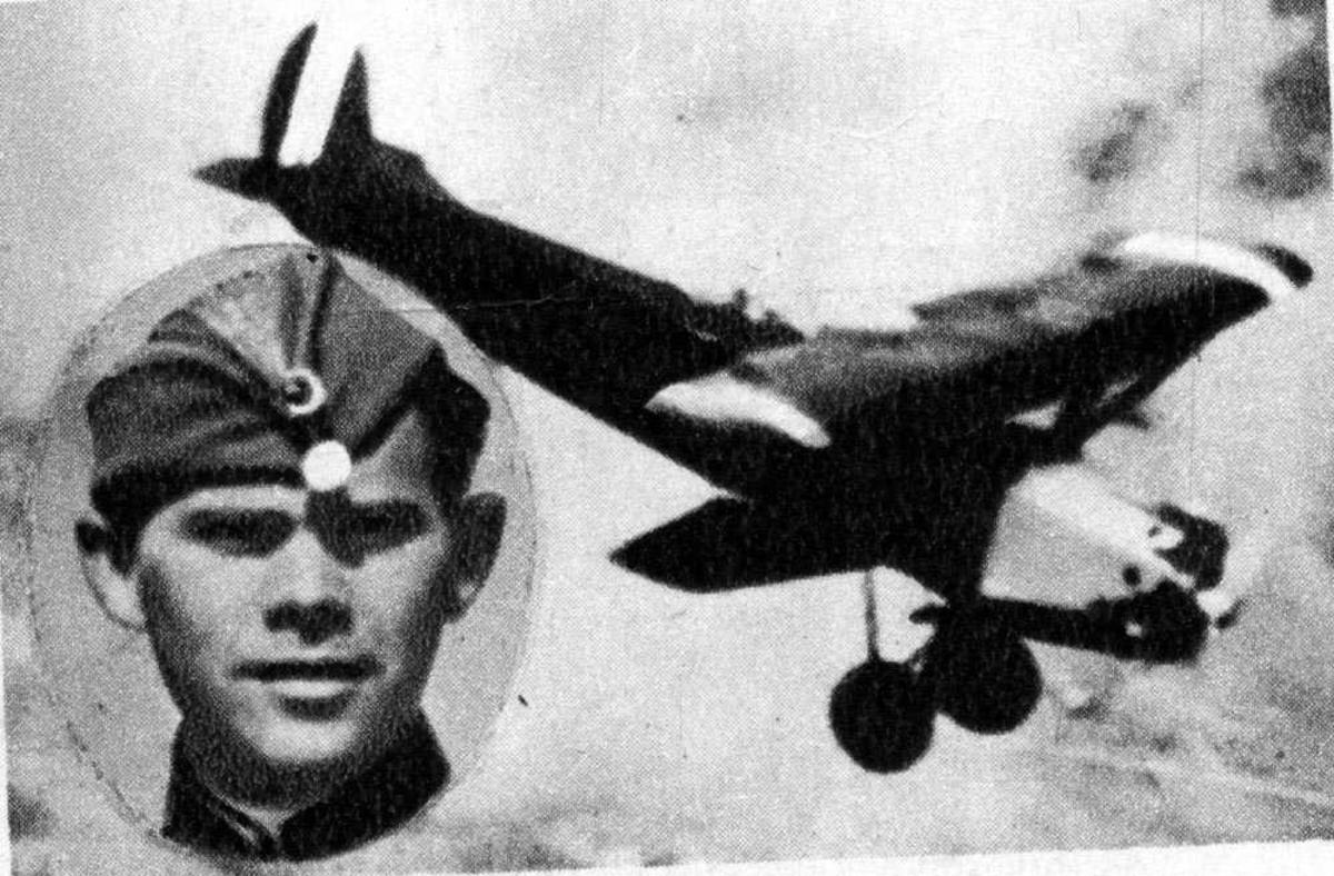 Portrett. En person, mann i uniform (innfelt). Ett fly i luften.