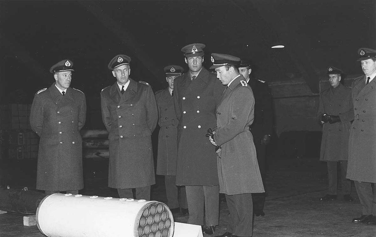 Kronprinsen og noen militære offiserer i en hangar.