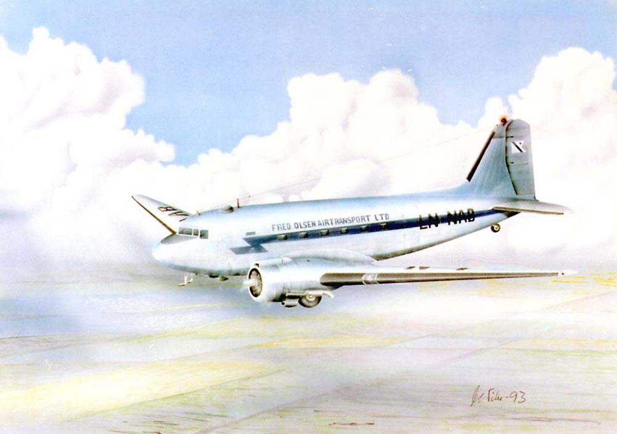 Tegning av et fly i luften, Douglas DC-3 fra Fred Olsen Airtransport LTD.