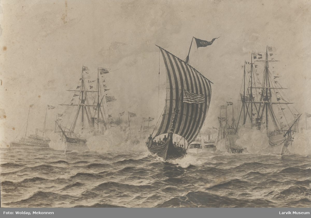"Magnus Andersen ferd med vikingskipet ""Viking"". Ankomst New York."