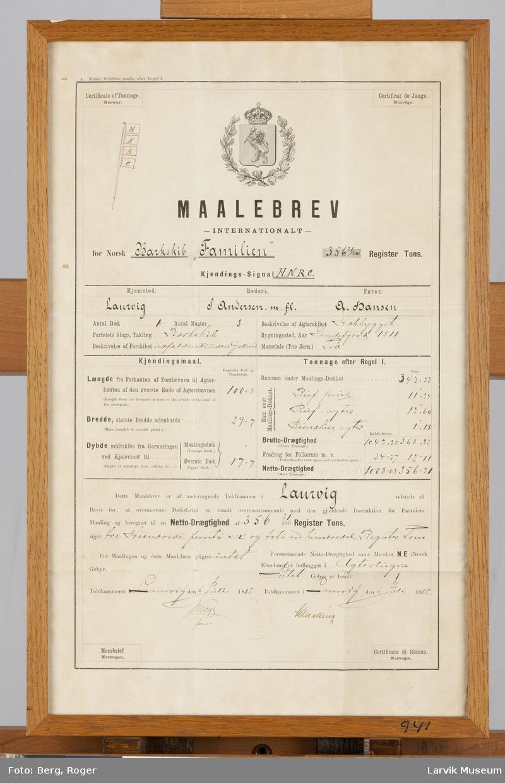 """Målebrev for barken """"Familien av Laurvig. 1885. Rederi Andersen m.fl. Kapt. A. Hansen."""