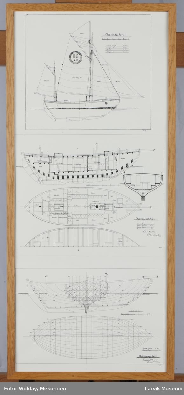 Tegninger av Colin Archer rediningskøyte.