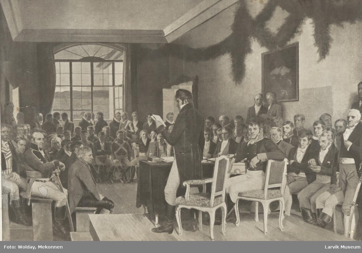 Rigsforsamlingen paa Eidsvold. Etter maleri av Wergeland.
