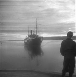 Ung gutt står på kaia i Vadsø og ser på  hurtigrute 'Polarly