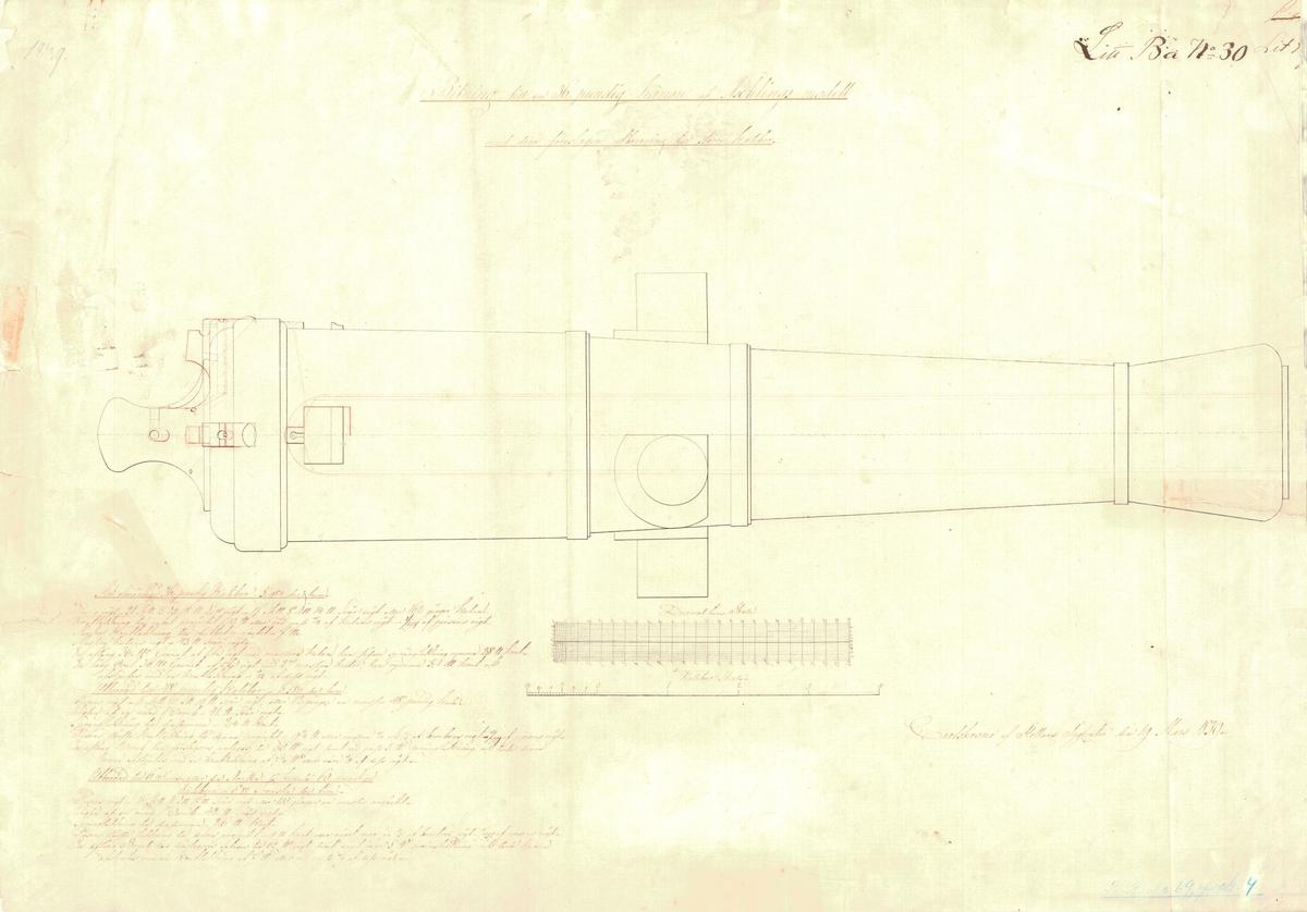 Ritning till en 36 pundig kanon av Aschlings modell, med derå föreslagen utborrning till större kaliber