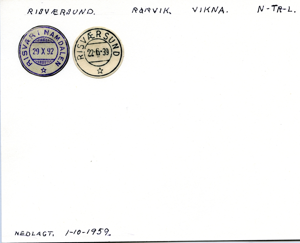 Stempelkatalog Risværsund (Risvær i Namdalen), Rørvik, Vikna, Nord-Trøndelag