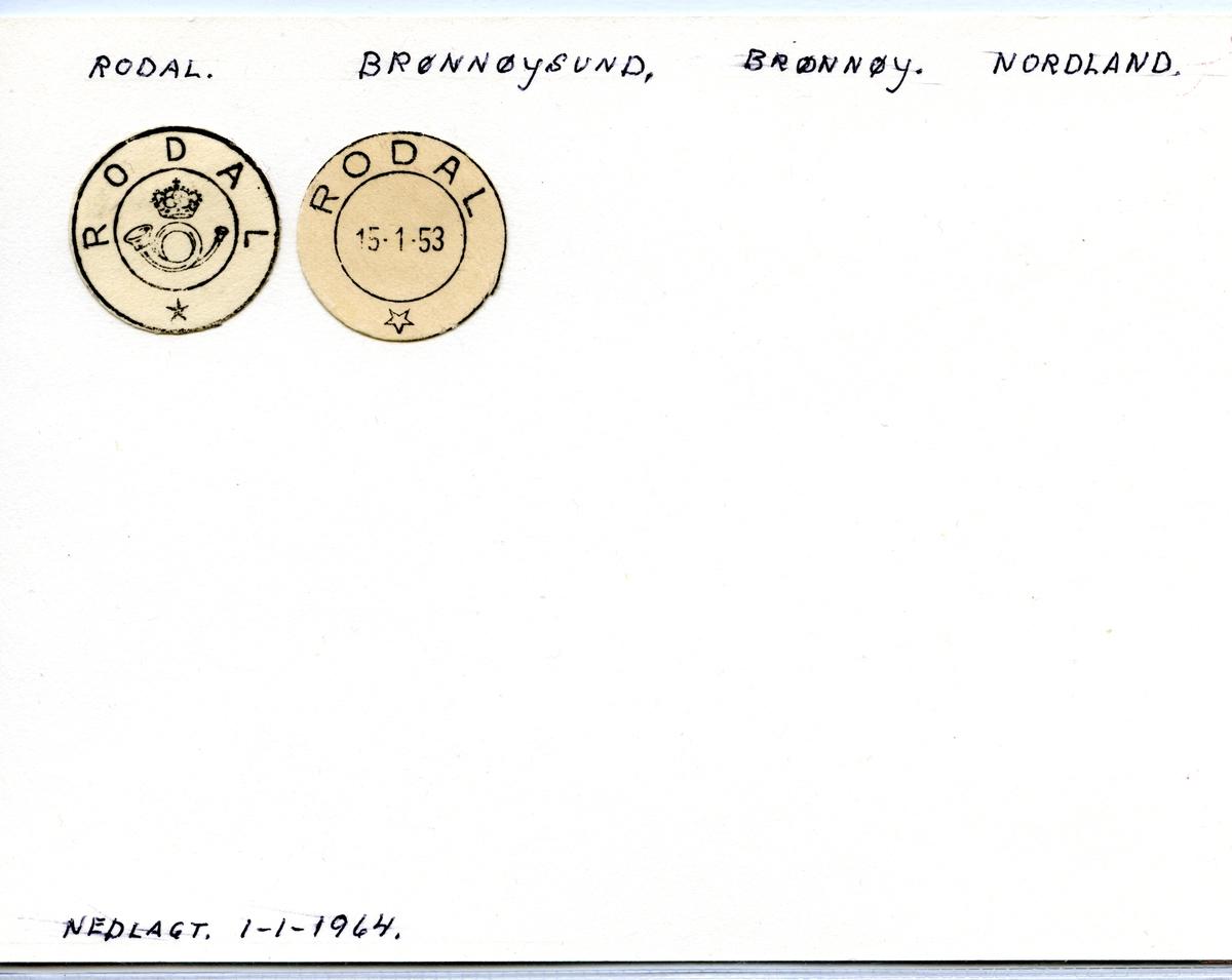 Stempelkatalog Rodal, Brønnøysund, Brønnøy, Nordland