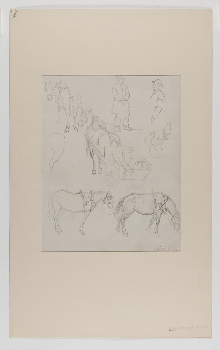 Handteckning av J W Wallander från Rättvik, Dalarna 1857. Mansdräkter samt hästar med seldon. Nordiska museets inventarienummer 57339k.