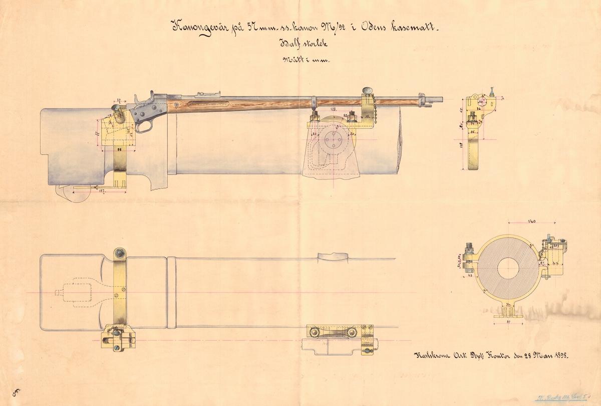 Kanongevär på 57 mm snabbskjutande kanon m/92 i Odens kasematt