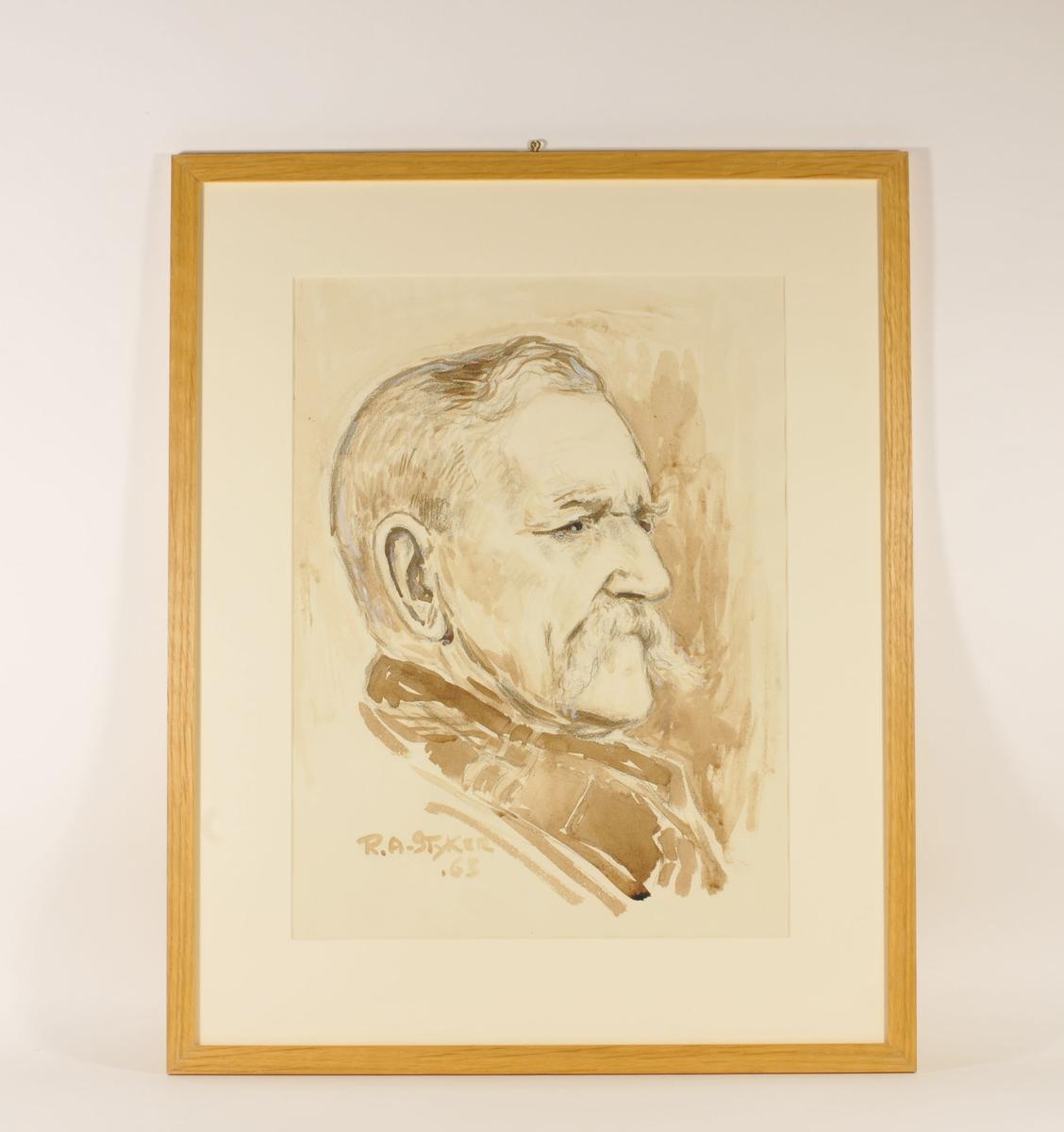 Portrett i profil av en mann med mustasj og bakoverkjemmet hår.