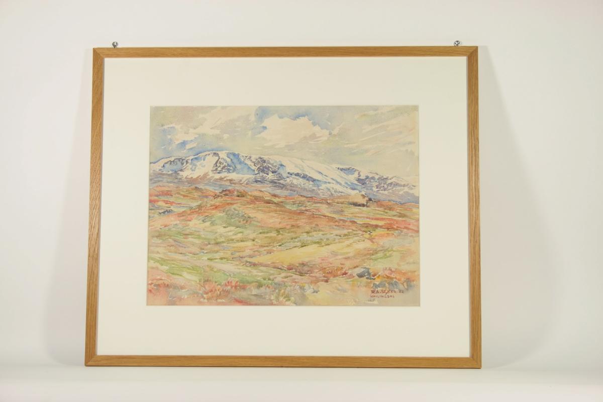 Motivet viser et fjellandskap uten trær, i toner av rødt, grønt og oker. Et snødekt ligger i bakgrunnen, og går over hele motivets lengde.
