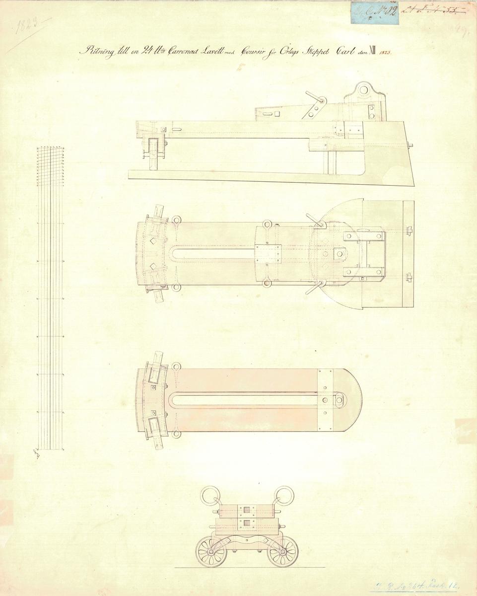 Ritning till 24 pundig karronadlavett med kursör för örlogsskeppet Carl XIII