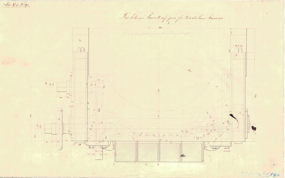 2 st ritningar på friktionslavett av järn för 12,83 dec. tums kanoner