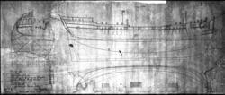 Inlånad (och glasmonterad) ritning av skepp  Stockholm