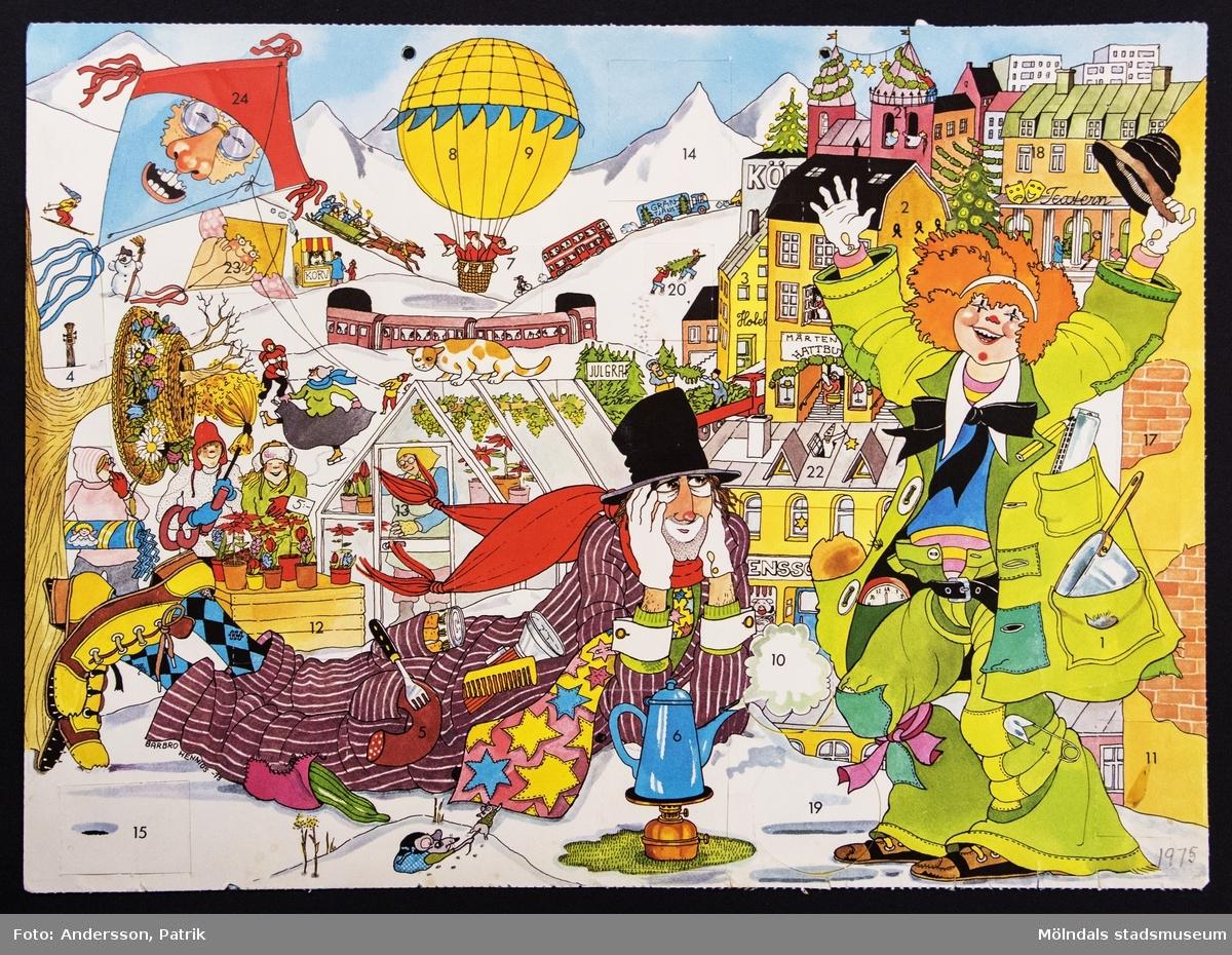 Sveriges Radios julkalender: Albert och Evelina, som sändes på radion mellan den 1 - 24 december 1975. Motivet på kalendern är tecknat av Barbro Hennius. I övre kanten på kalendern finns två hål för upphängning.