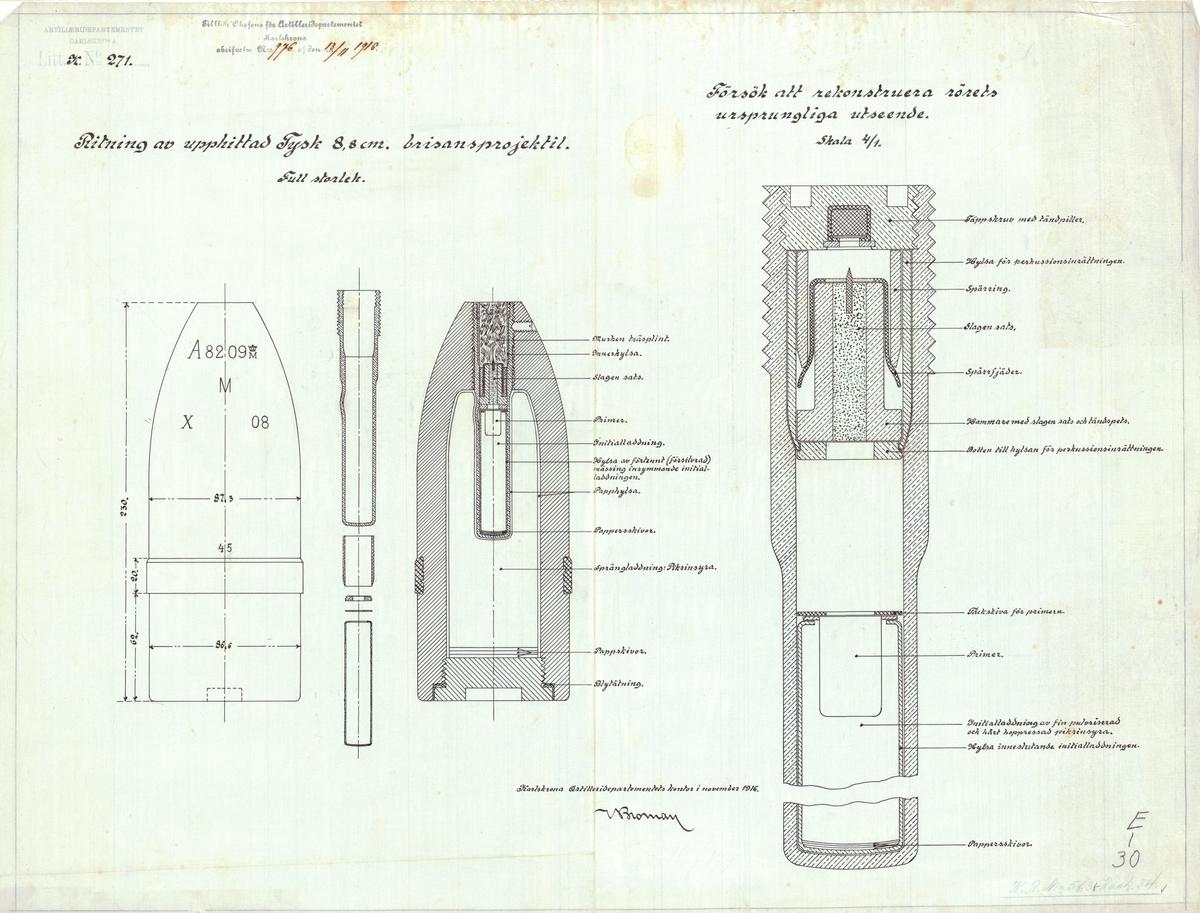 Ritning av upphittad 8,8 cm tysk brisansprojektil samt försök att rekonstruera rörets ursprungliga utseende