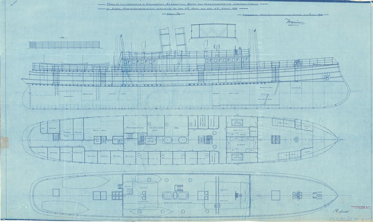Ritningsförslag till förändring av kanonbåten till depå- och verkstadsfartyg