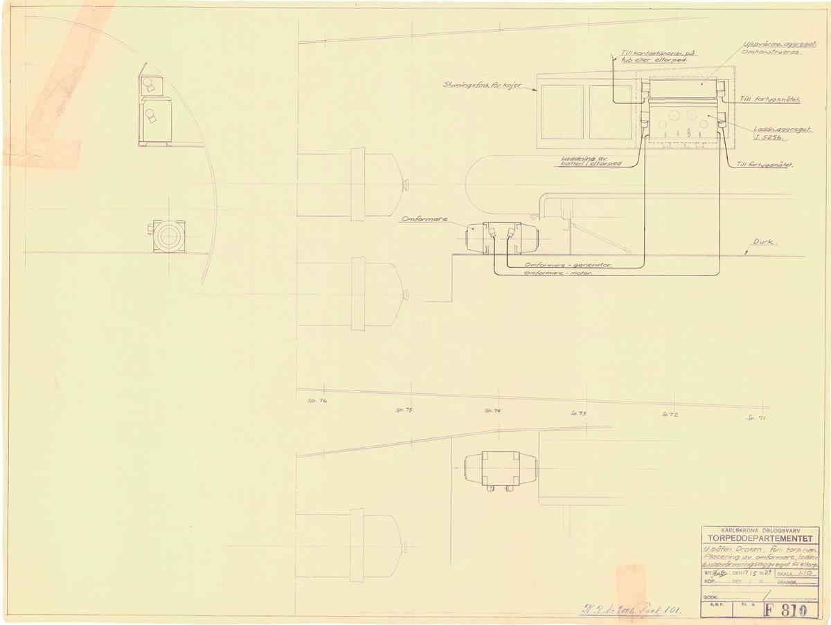 Detaljritning för torpedrum, placering av omformare, laddning och uppvärmningsaggreget till elektriska torpeder