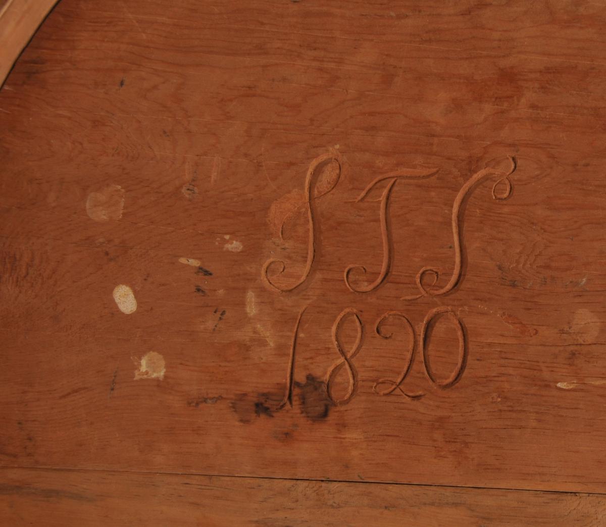 Klesask med lok. Blynaglar. Det er skore inn initialar og årstal under loket.