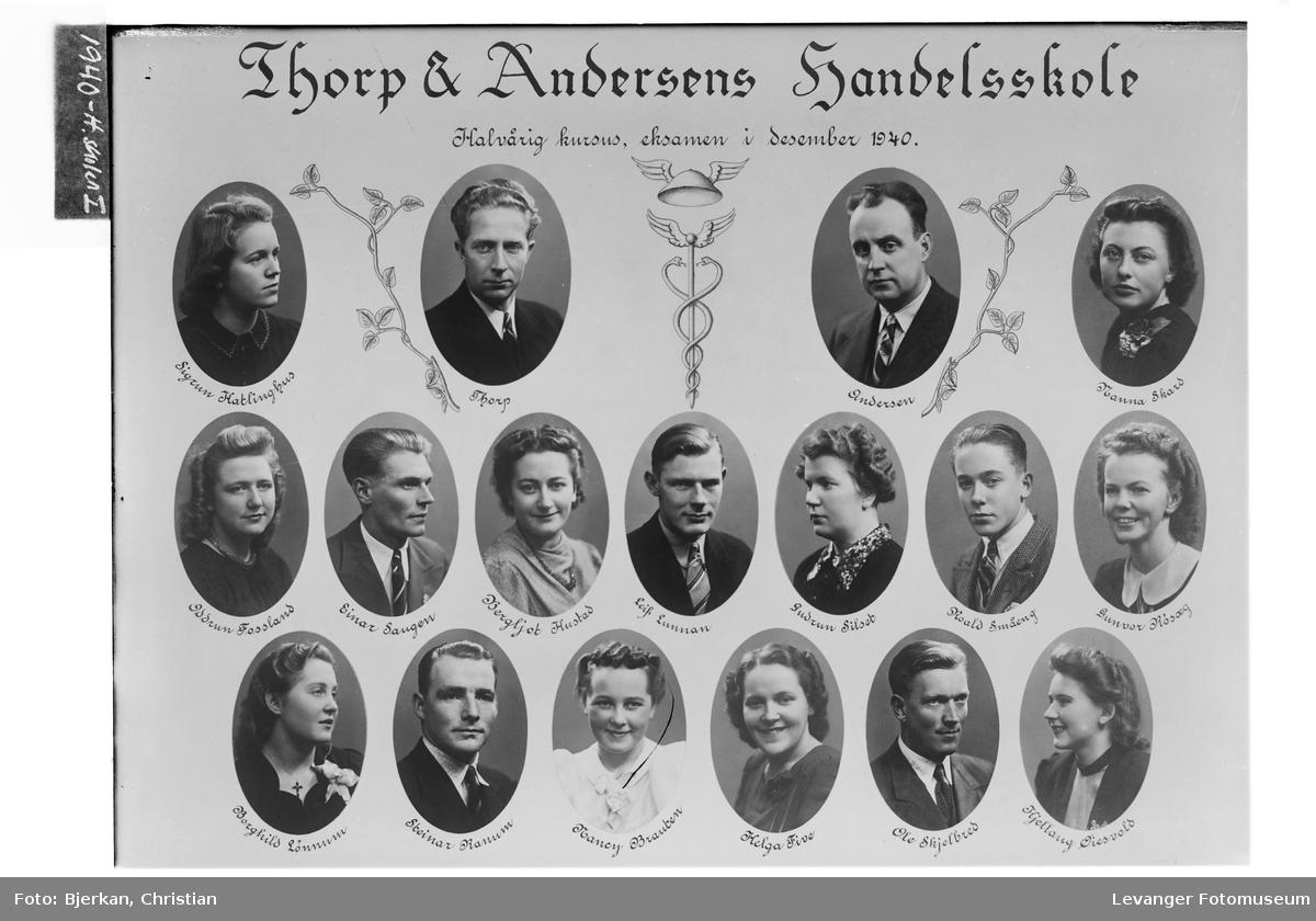 Thorp & Andersens Handelsskole. Halvårig kursus, eksamen i desember 1940.