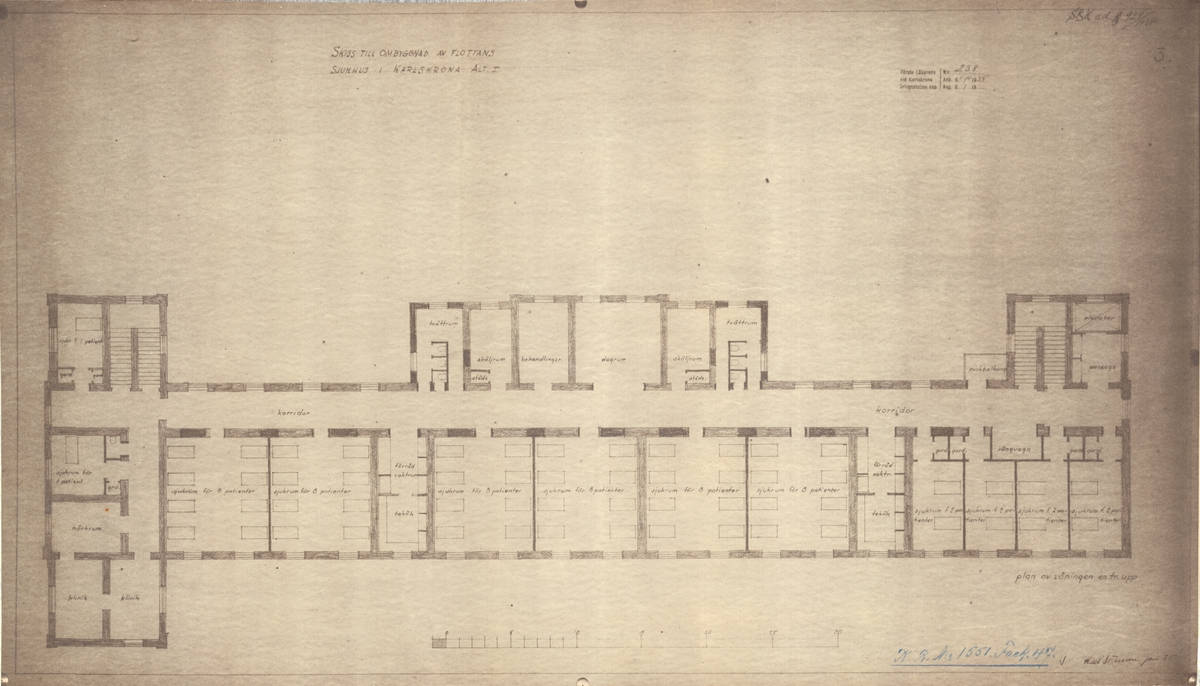 Flottans sjukhus Karlskrona Skiss till ombyggnad av sjukhuset alternativ 1