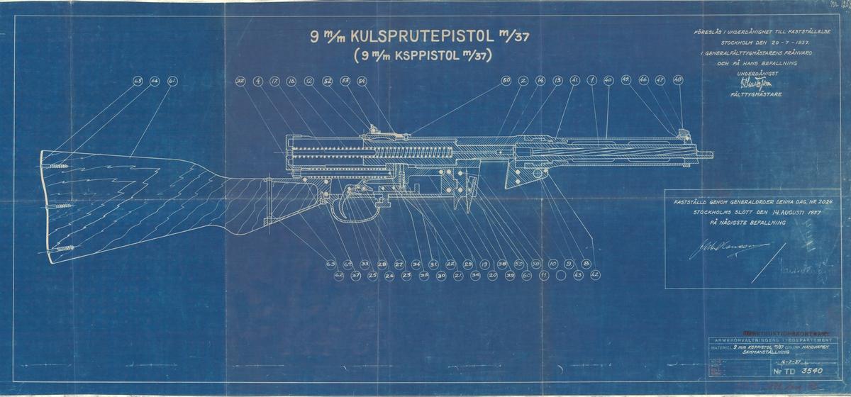 Ritning på 9 mm kulsprutepistol