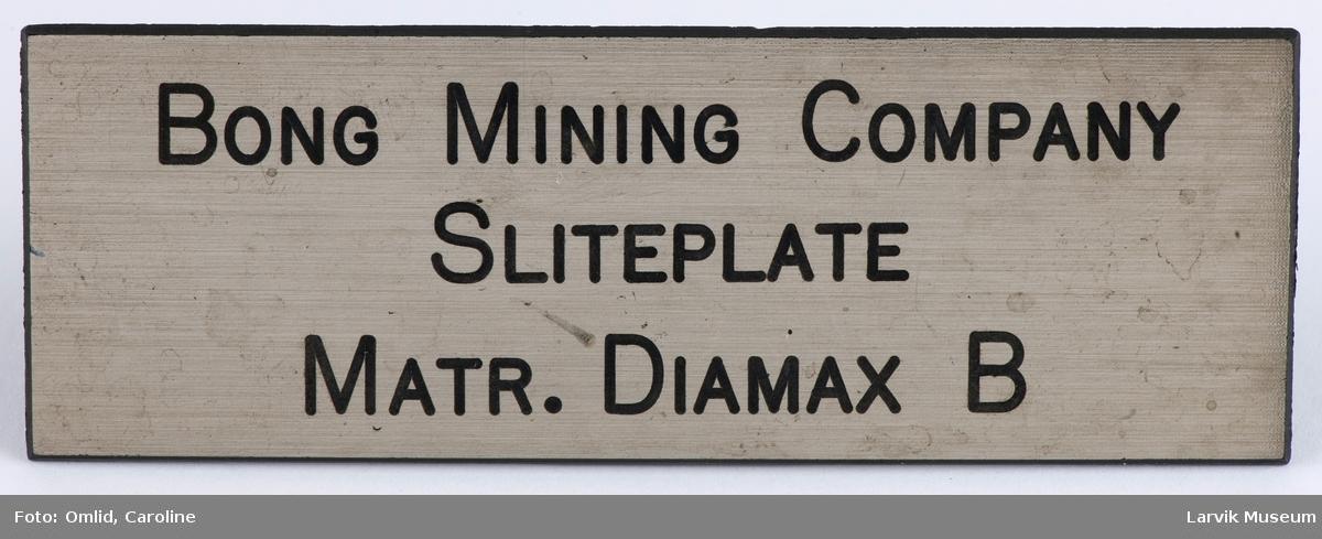 Bong Mining Company Sliteplate Matr. Diamax B