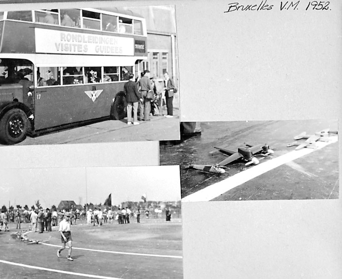 Fra album. 3 foto av modellfly og tilhørende utstyr. Flere personer på bildene.