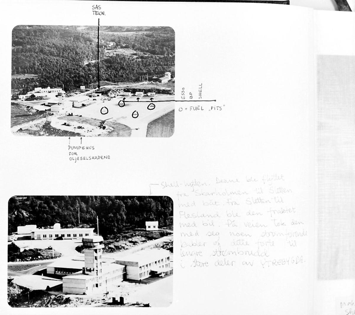 Maskinkopi fra lufthavnanlegg. 2 oversiktsfoto med kontrolltårn, flyplassbygninger